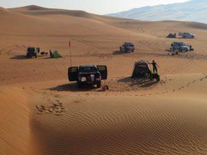 Setting up camp among the Liwa Crescent dunes